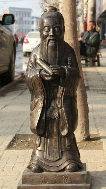 "JP S0524 29"" Old Larger Famous Chinese Bronze Folk Confucius Confucian ideologist Statue statue statue bronze   - title="