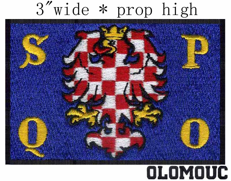 Olomouc, Czech Republic 3wide embroidery patch for s p q o texts/dragon/blue applique