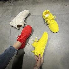 Новые летние белые дышащие женские кроссовки из сетчатого материала; модная женская повседневная обувь на толстой подошве; Zapatos De Mujer; Размеры 35-40