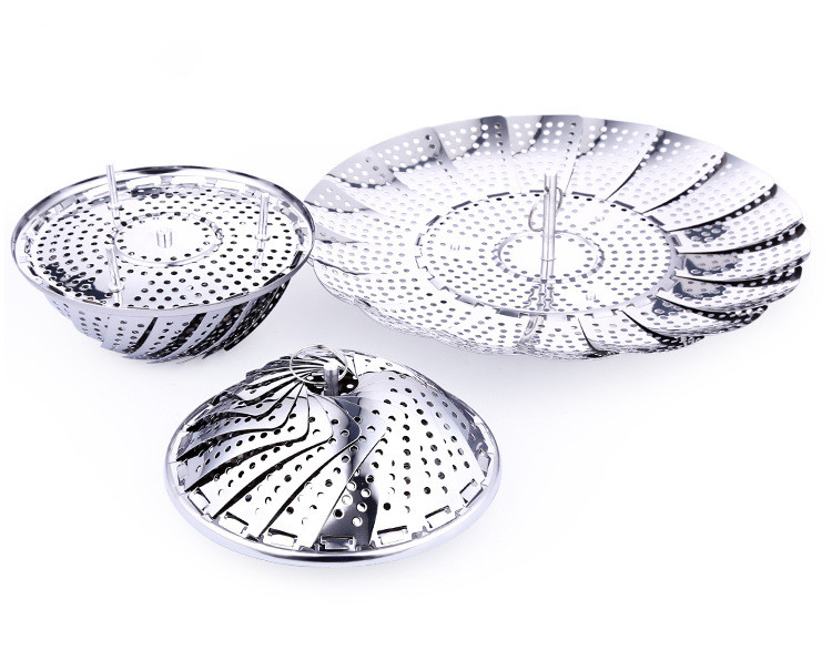 1PC Stainless Steel Silver Folding Collapsible Vegetable Food Fish Steamer Plate Tray Pastry Bun Steaming Stocked Cooking PL 008