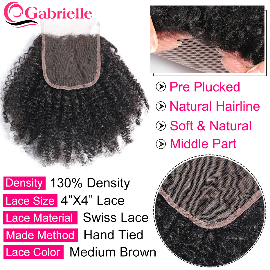 Image 3 - Gabrielle Hair Closure Afro Kinky Curly Natural Color 10 18inch Brazilian Human Hair Remy Hair Weave 4*4 Free Part Lace Closure-in Closures from Hair Extensions & Wigs