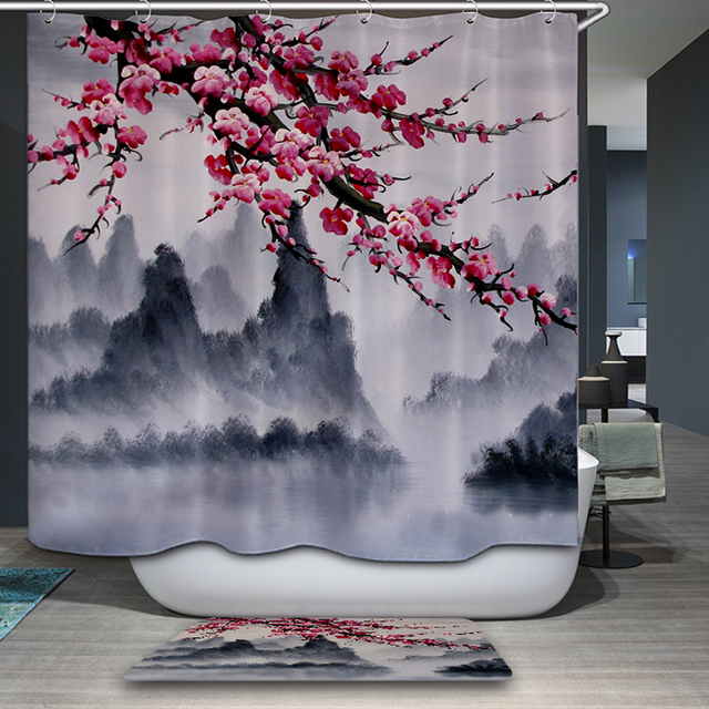 New Shower Curtain Chinese style Rural Natural flower Scenic Vector ...