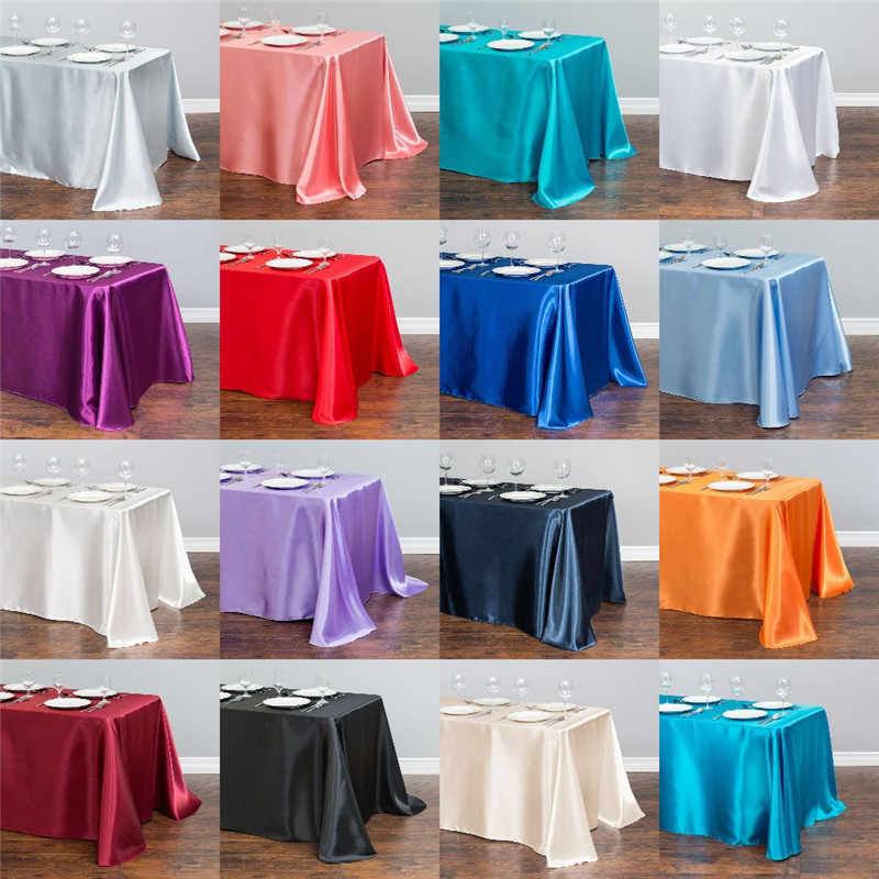 White Satin Table Cloth 140cmx250cm Rectangle Table Cover WholeSale Tableclothes For Wedding Event Party Hotel Decoration