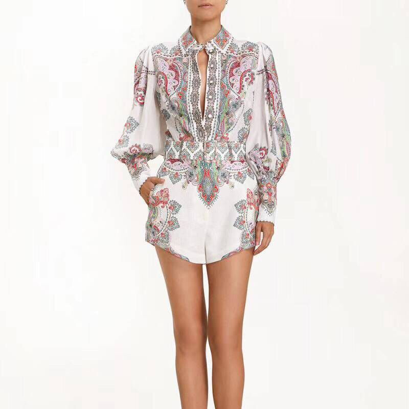 2019 Newest Woman Print Sets Puff Long Sleeve Woman Tops Sashes Shorts High Quality Vintage Style