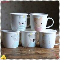 1set Cute Cartoon Ceramic Mug With Lid Lovers Mug Gift Cup Home Office Porcelain Milk Coffee Cup Home Beer Tea Mug 5ZDZ331