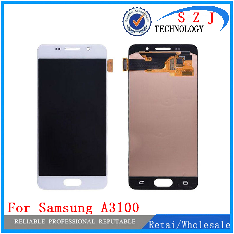 все цены на New case For Samsung Galaxy A3 A3100F A3100 A310F 2016 Touch Screen + LCD Digitizer Assembly -White/Black Free Shipping онлайн