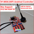 TF-M6W wireless wifi led control card, Support  512*64 ,2 hub08, 4hub12 port,one color, two color andriod led control card