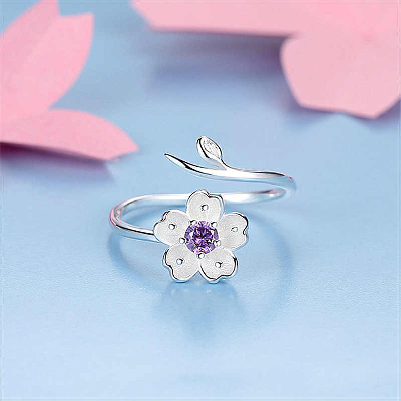 Chandler 925 Sterling Silver Daisy Flower Branch Wrap Rings Adjustable Purple CZ Thumb Toe Bague For Women Love Promise Luxury