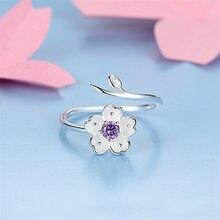 73f5411e8535 Chandler de la plata esterlina 925 Daisy flor rama abrigo ajustable anillos  CZ púrpura pulgar punta Bague para las mujeres de pr.
