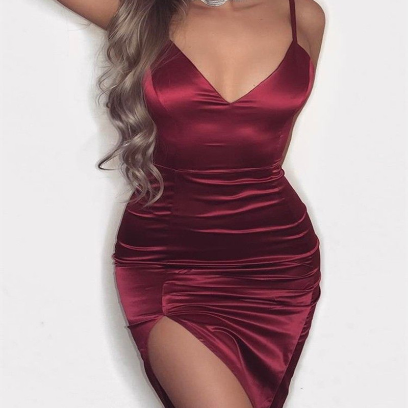 33bf655d796 Women Dress 2018 Sleeveless Summer New Arrivals Sexy Spaghetti Strap Deep v  Neck Vestido Bodycon Split