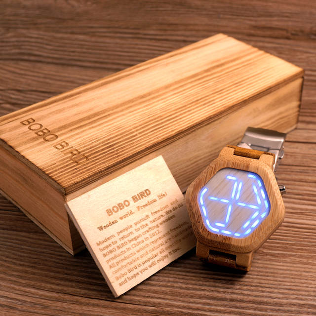 US $35 99 |BOBO BIRD Men Watches Top Brand Luxury LED Digital Bamboo Watch  Bamboo Band Wristwatches relogio masculino B E03-in Quartz Watches from