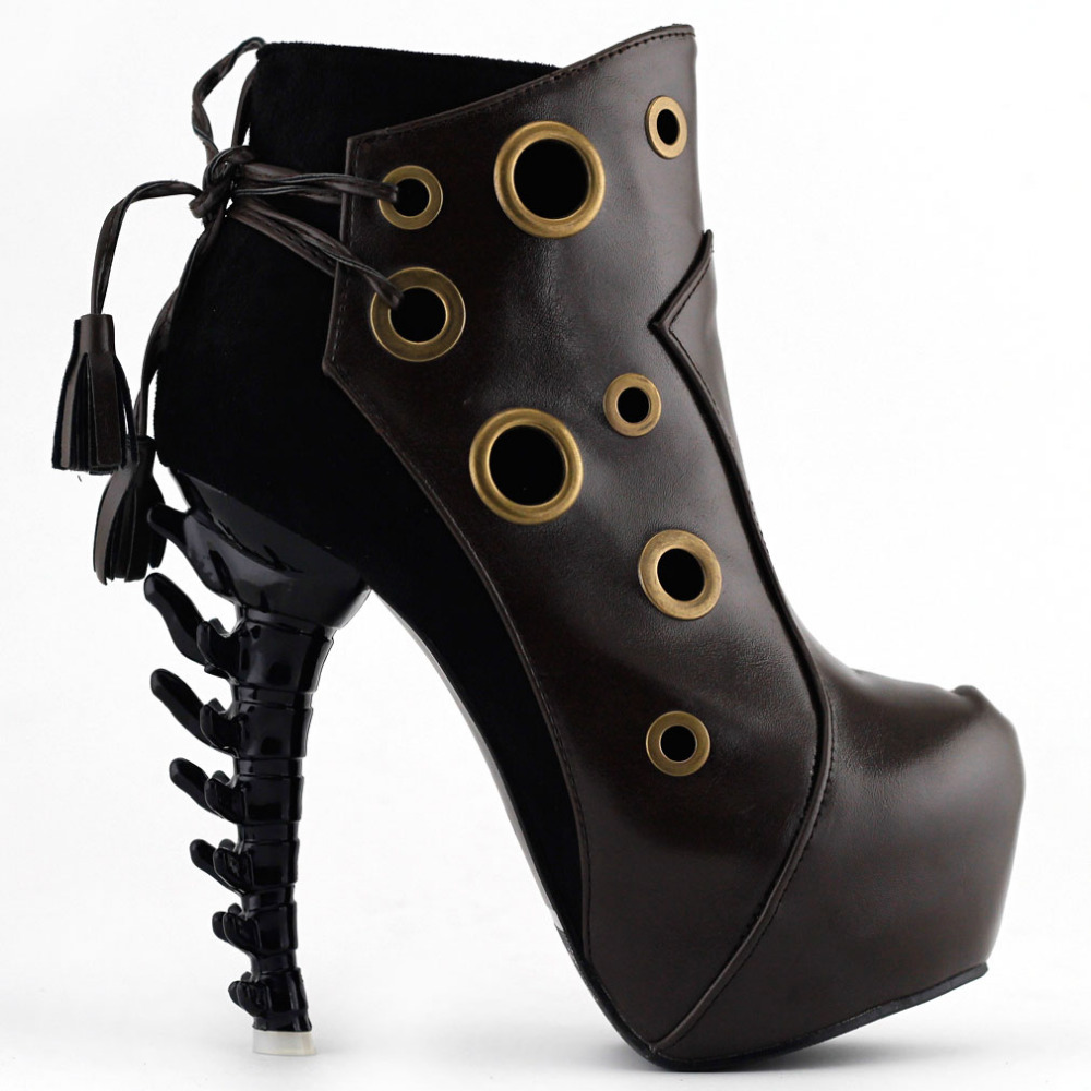 LF80618 Punk Red/Brown Ring Lace-Up Bone Heel Platform Ankle Boots mld lf 1127 ankle supports