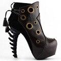 LF80618 Punk Vermelho/Anel Marrom Lace-Up Plataforma Ankle Boots Calcanhar Osso