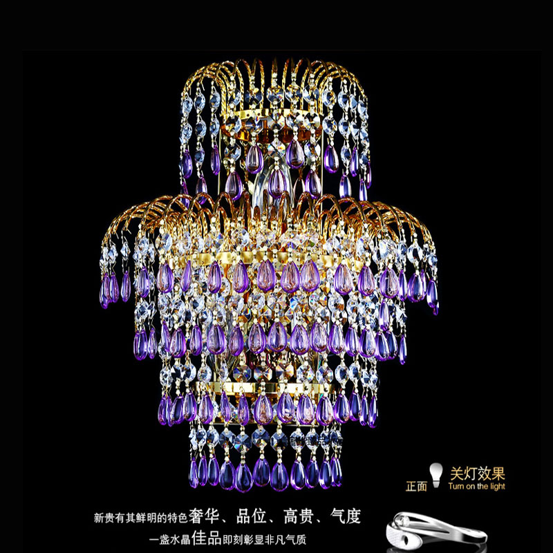 100% K9 Crystal wall Lamp Wall European Creative Modern Minimalist Living Room Bedroom Bedside Lighting purple crystal wall ligh creative modern minimalist butterfly led crystal wall lamp for hallway stairs balcony bedroom bedside bulb included ac 90v 260v