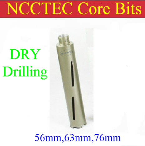 76mm*350mm NCCTEC Diamond DRY Core Drill Bits | 3'' red brick concrete wall DRY core bits pits | DRY drilling without water