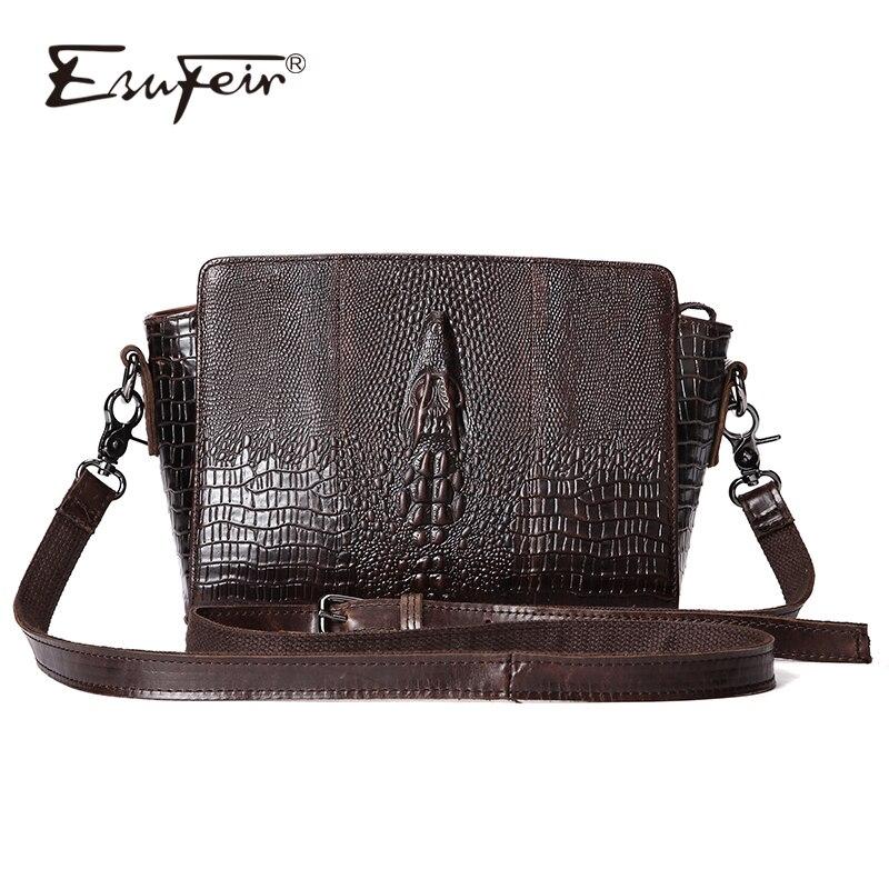 ESUFEIR Genuine Leather Women Messenger Bag Fashion Crocodile Pattern Leather Shoulder Bag Casual Flap Bag Vintage