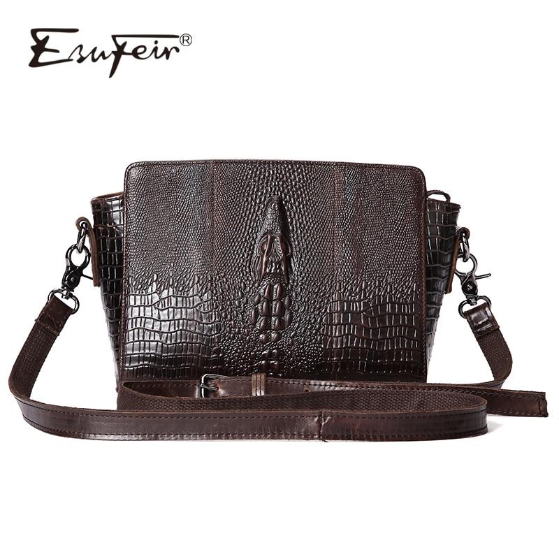 ESUFEIR Genuine Leather Women Messenger Bag Fashion Crocodile Pattern Leather Shoulder Bag Casual Flap Bag Vintage Crossbody Bag все цены