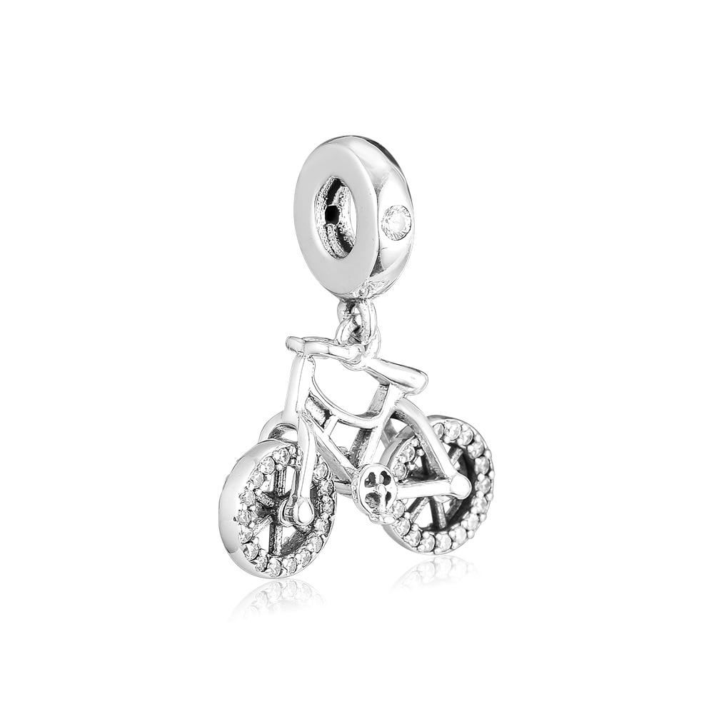 100% Wahr Ckk Silber 925 Schmuck Brilliant Fahrrad Hängen Charme Mode Perlen Passt Original Armbänder Sterling Silber Herstellung