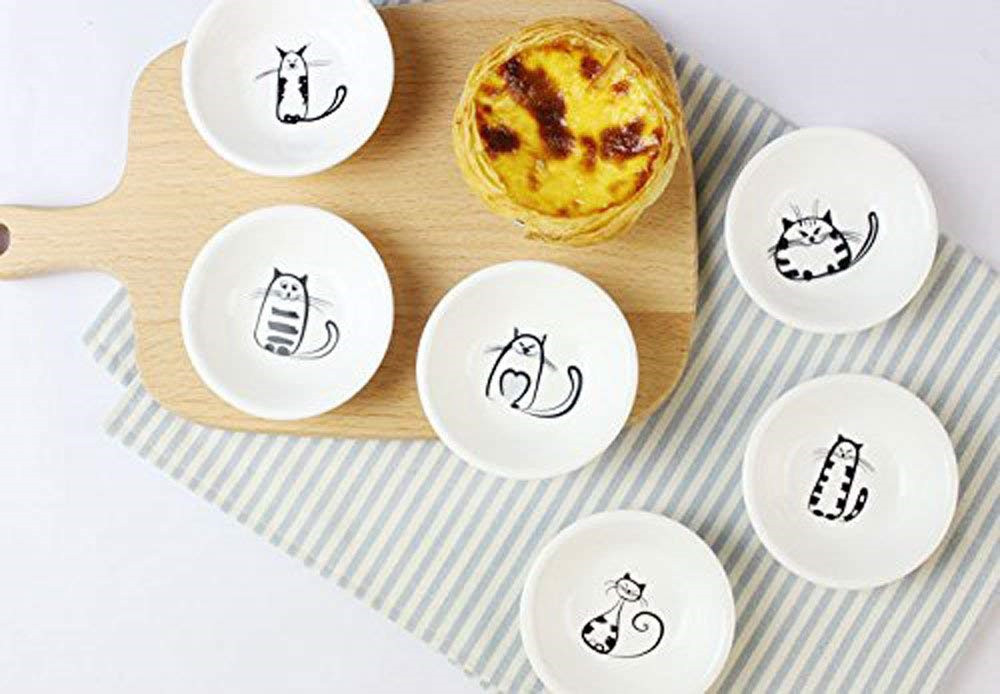 Super Cute Cat Ceramic Sauce Dish,Mini Side Seasoning Dish,Condiment Dishes,Sushi Soy Dipping Bowl,Snack Serving Dishes,Meow Porcelain Small Saucer Set06