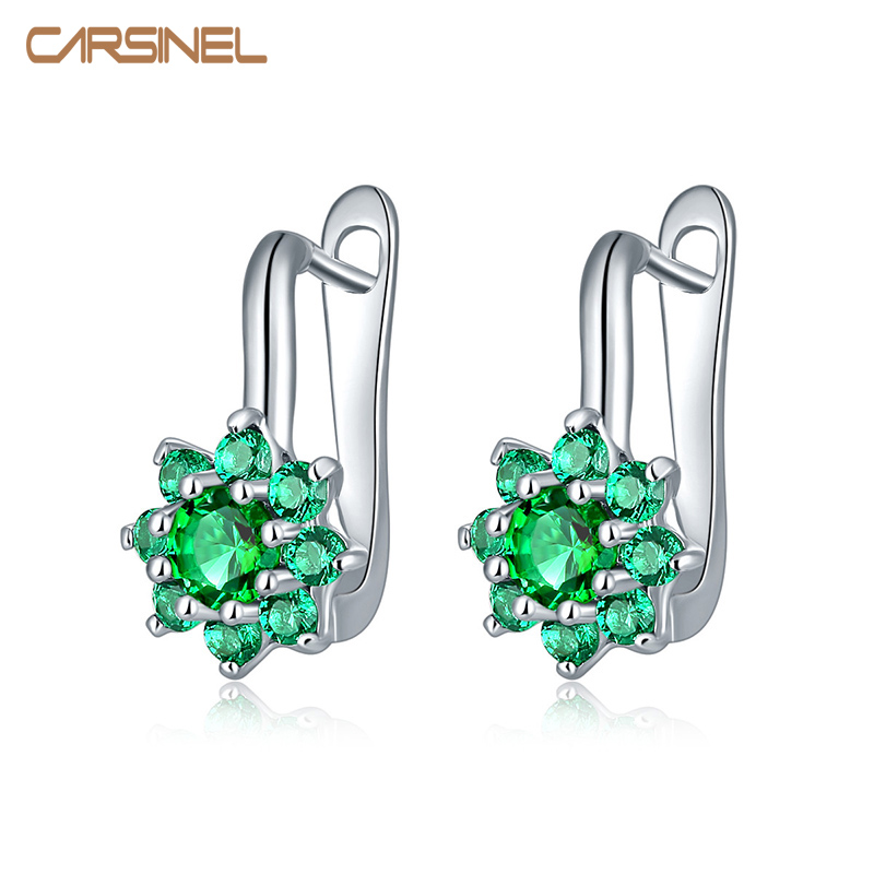 CARSINEL High Quality Silver color CZ Zircon Hoop Earrings For Women Fashion Wedding Jewelry Earring 7 Colors ER0278