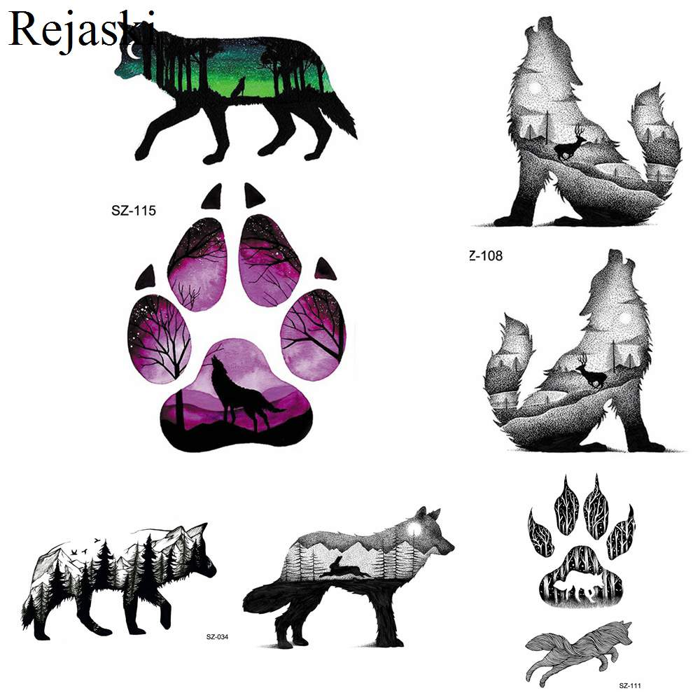 Us 047 Rejaski Black Howling Wolf Tattoo Stickers Men Arm Art Temporary Tattoo Women Watercolor Dog Paw Forest Waterproof Tatoos In Temporary