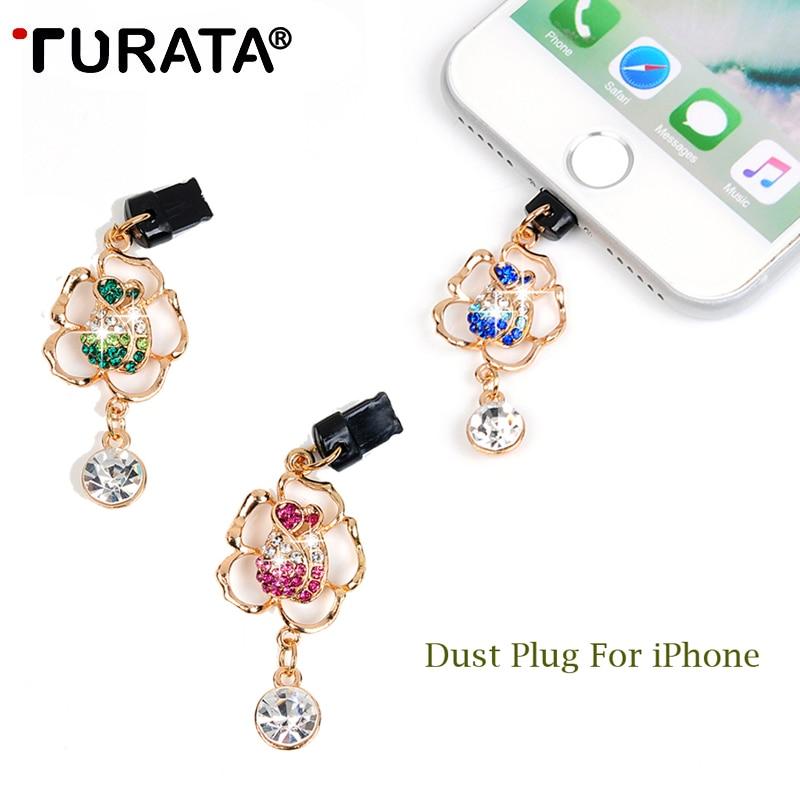 TURATA Glitter Diamond Anti-Dust Plug Phone Gadgets Mobile Phone Charge Port Anti Dust Plug for IPhone 4 5 5s 6 6s 7 8 X Plus