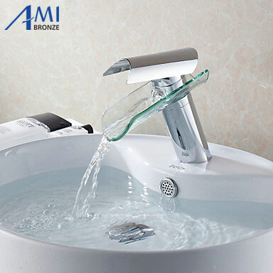 Bathroom sink basin mixer tap chrome polished glass waterfall brass round Faucet BF005 waterfall led brass tap basin sink faucet waterfall bathroom glass mixer polished chrome vessel tap finish 3 colors tree436