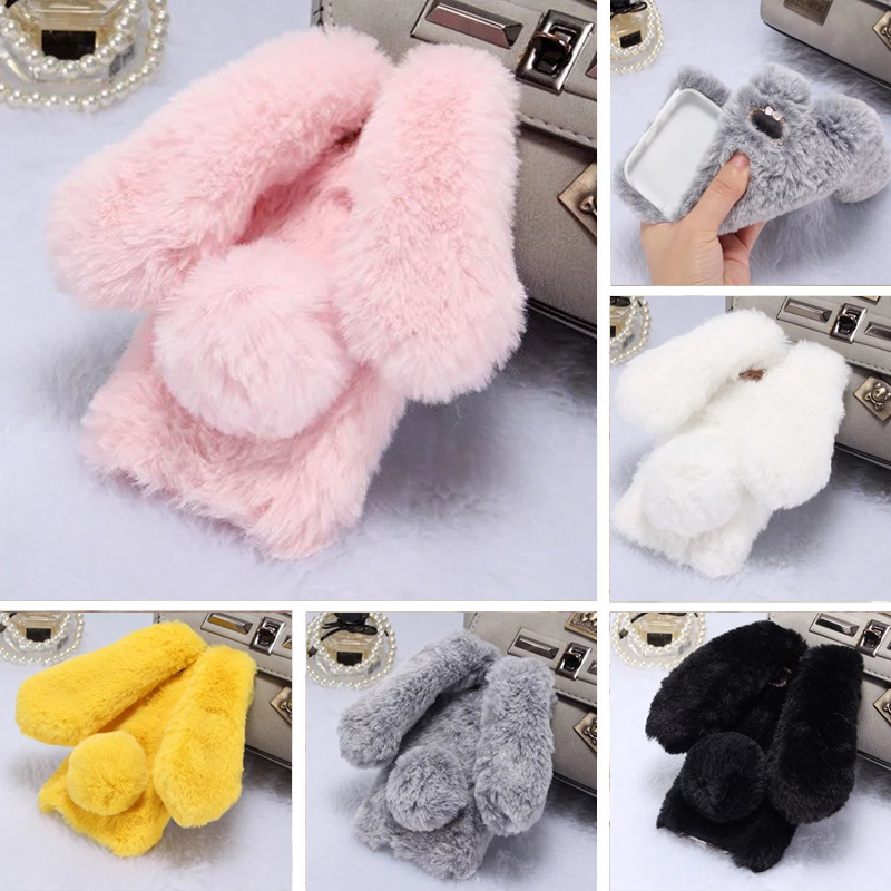 For IPhone 5 5S SE Case 3D Cute Rabbit Doll Big Ears Hairy Warm Fur Soft