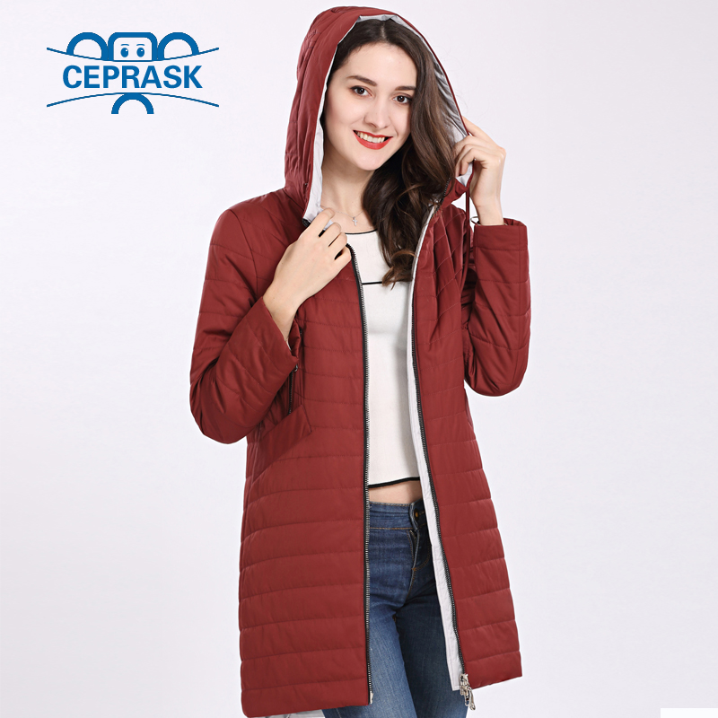 2018 New High Quality Women's Coat Spring Autum Windproof Thin Women Parka Long Plus Size Hooded Warm Cotton Jackets CEPRASK