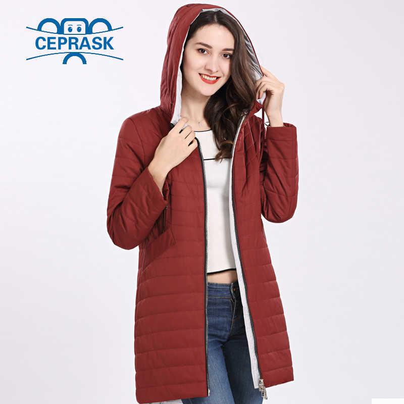 2018 nuevo abrigo de mujer de alta calidad primavera otoño a prueba de viento fino Parka de mujer con capucha larga de talla grande chaquetas de algodón cálido CEPRASK