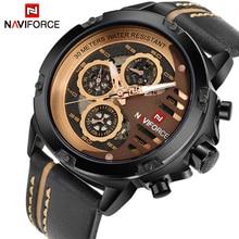 NAVIFORCE Luxe Merk mannen Quartz Sport Horloges Man Lederen Holle Gezicht 24 Uur Datum Klok Mannen Mode Waterdichte Pols horloge