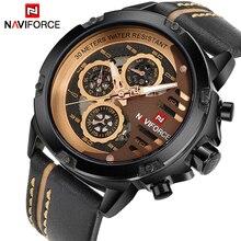 NAVIFORCE de la marca de lujo de los hombres de cuarzo relojes deportivos de cuero de hombre de Cara hueca 24 horas fecha reloj de los hombres de moda impermeable reloj de pulsera