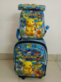 16 inches Pikachu Trolley  schoolbag sets  travel suitcase  (lunch box + pen boxes+trolley School bag )Pokemon bag kids travel