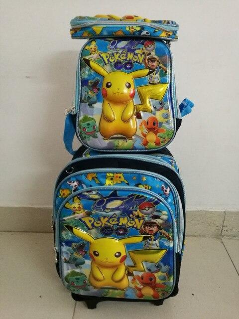 16 дюйм(ов) Пикачу Тележка школьный наборы путешествия чемодан обед коробка + ручка коробки + тележки мешок Школы) Pokemon сумка детей путешествия