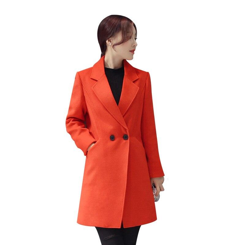 Laine Coréen Bouton Col rouge down Noir Dames Des Office gris Mélange Manteau Long Mode Seul Lady De Mince Veste Turn Femmes bleu qwnZ1FzI