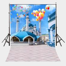 5x7ft Mediterranean Style Architecture Backdrop Aegean Area Blue Bildings Colorful Flying Balloons Photo Video Props броши clip me flying balloons girl