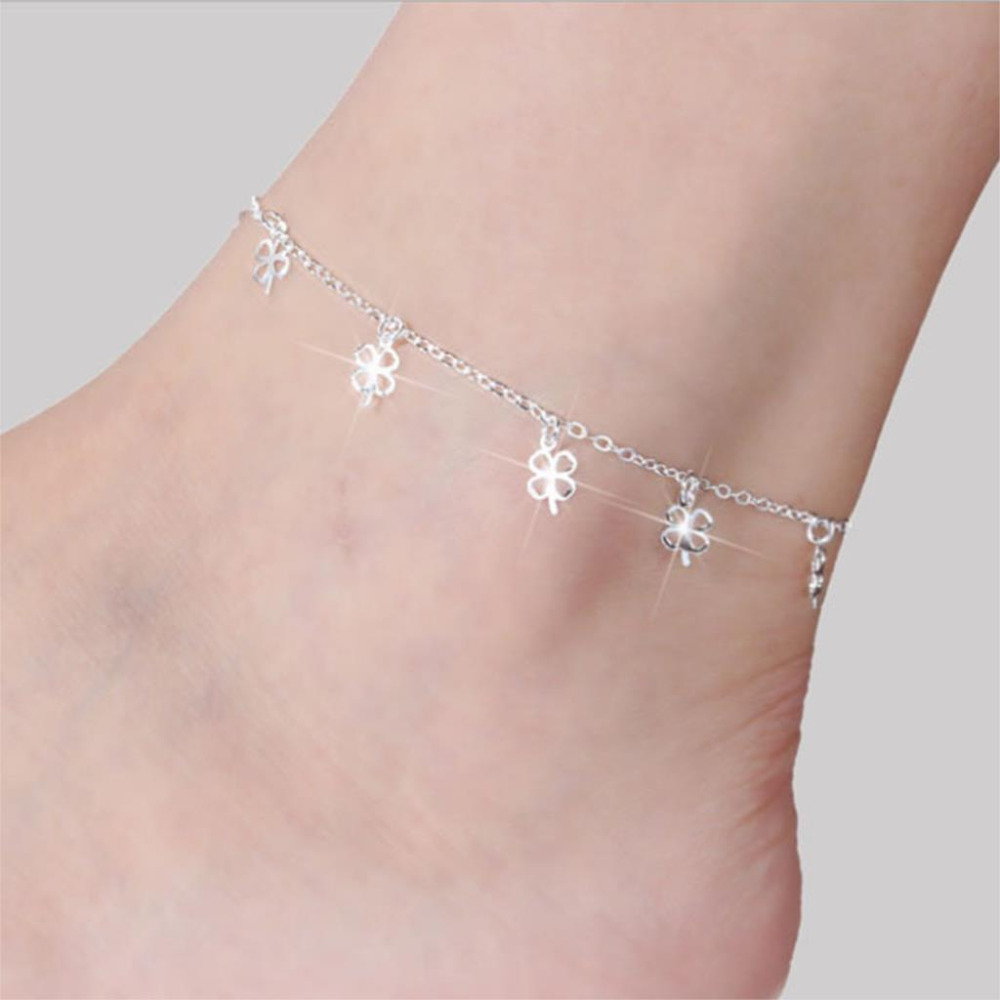 Women Silver Plated Anklet Fashion Ankle Bracelet Clover Anklets for Women Foot Jewelry Hot Sale Chains