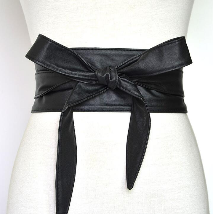 Women's Runway Fashion PU Leather Cummerbunds Female Dress Corsets Waistband Belts Decoration Bow Belt R672