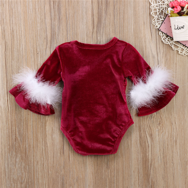 Emmababy Newborn Baby Girls Lovely Flare Sleeve Velvet Solid Color Bodysuit Jumpsuit Outfits Set Clothes Girls' Baby Clothing Bodysuits