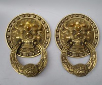 Collectible Home Decorated Crafts 1 Pair Chinese Handwork Brass Big Door Knocker style 00013