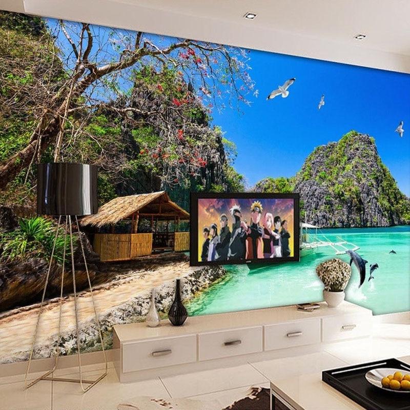 Custom 3d photo wallpaper hd hawaiian ocean view living for Home wallpaper view