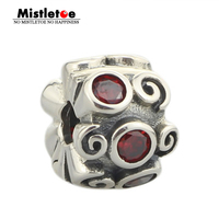 Authentic 925 Sterling Silver Clip Red CZ Charm Bead Fit Pandora Bracelet Jewelry