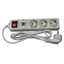 3 слота Европейский 1А 5 в USB удлинитель с заземлением с 2 м кабель из покрытого медью алюминия K-03