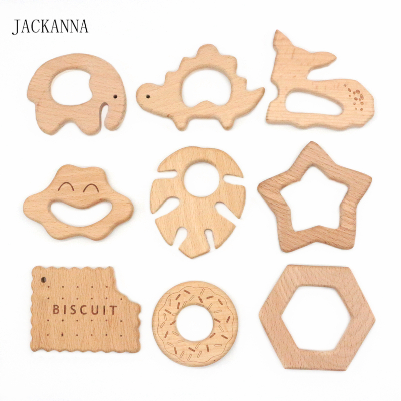 BPA FREE Beech Wood Teether Cartoon Wooden Animal Baby Teether Toy Safe Newborn Kids Teething Toys Chewable Baby Products