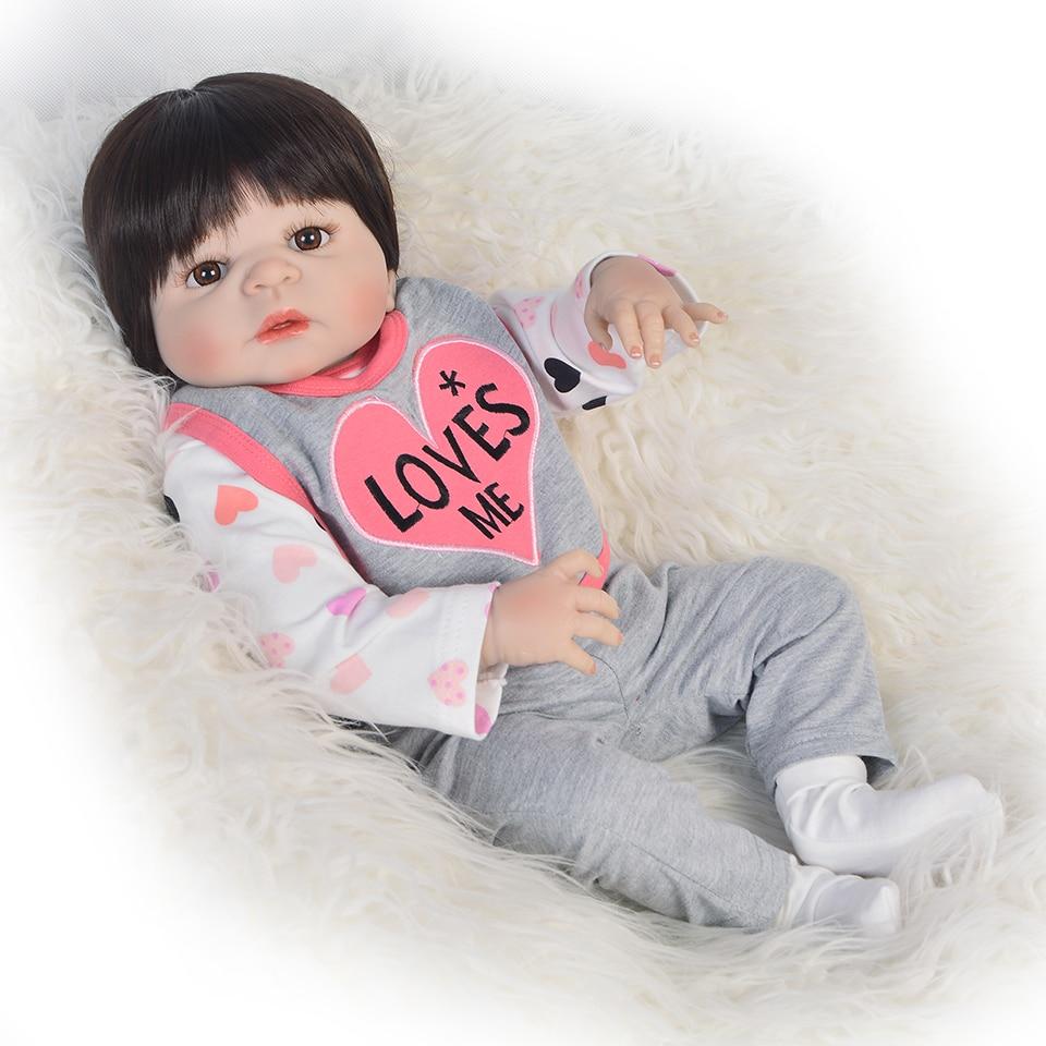 55cm Soft Silicone Reborn Dolls Baby Realistic Doll Reborn 22 Inch Full Vinyl BeBe Boneca Reborn Doll For Girls55cm Soft Silicone Reborn Dolls Baby Realistic Doll Reborn 22 Inch Full Vinyl BeBe Boneca Reborn Doll For Girls