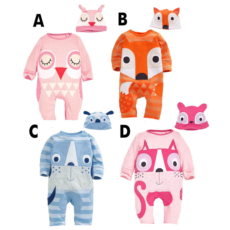 infant Romper cotton Cartoon animal fox Baby Rompers,Long sleeves girls Jumpsuit climb baby boys clothes+Hat Newborn clothing spring autumn newborn baby rompers cartoon infant kids boys girls warm clothing romper jumpsuit cotton long sleeve clothes