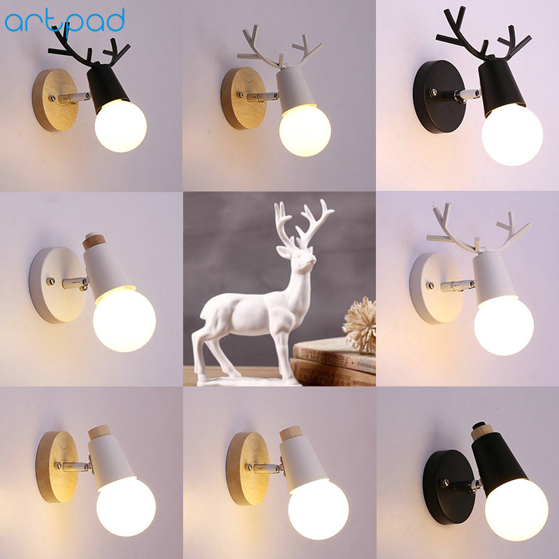 Northern Europe Deer Iron E27 Lampholder Wood Bedside Light Base Kids Room Decoration Corridor Wall Lights