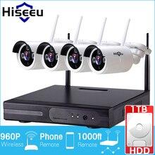 Hiseeu sistema de cctv sem fio 960 p câmera ip nvr 1 tb hdd 4ch sem fio poderoso ir-cut cctv casa kits de vigilância sistema de segurança
