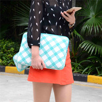 Square Picture Green Canvas Laptop Sleeve Case For Macbook Air 13 Pro Retina 13 Laptop Bag