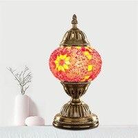 Vintage Handmade Mosaic Mediterranean Retro Glass Table Lamp Bedroom Home Art Decoration Lamparas De Mesa Lamparas Con Mosaicos